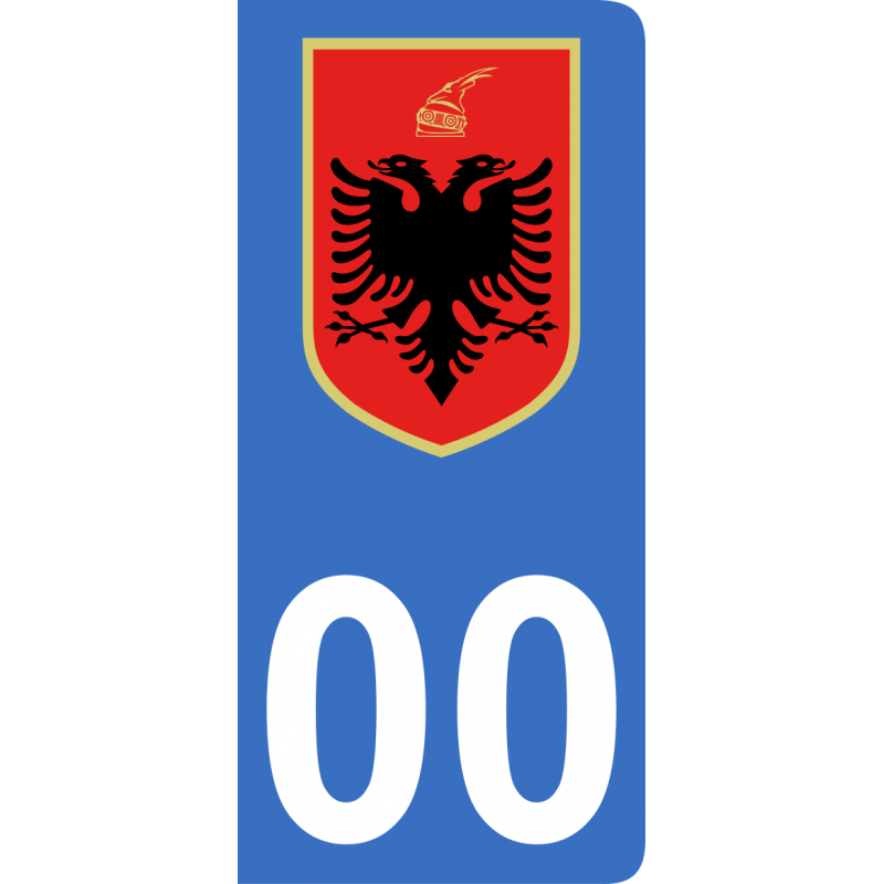 Autocollants blason d'Albanie pour plaque immatriculation numéro au choix