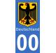 Autocollants blason d'Allemagne pour plaque immatriculation numéro au choix