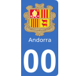 Autocollants armoiries d'Andorre pour plaque immatriculation numéro au choix