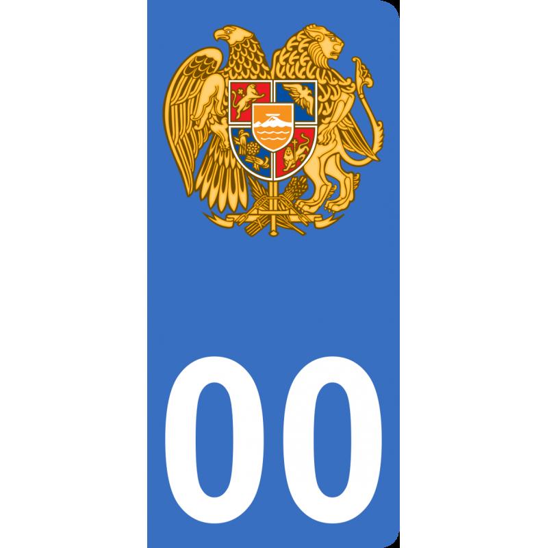 Autocollants armoiries d'Arménie pour plaque immatriculation numéro au choix