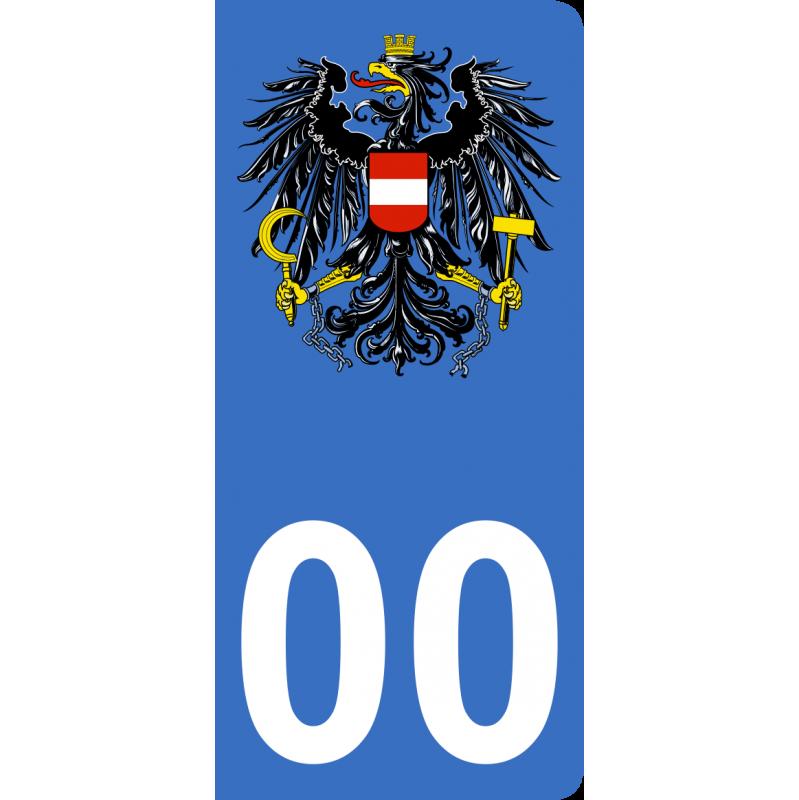 Autocollants armoiries Autriche pour plaque immatriculation numéro au choix