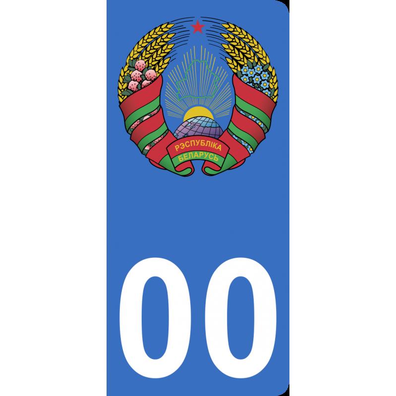 Autocollants embléme de Biélorussie pour plaque immatriculation numéro au choix
