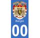 Autocollants armoiries de Belgique pour plaque immatriculation numéro au choix