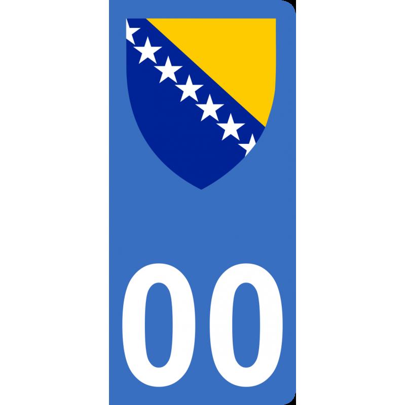 Autocollants blason de Bosnie-Herzégovine pour plaque immatriculation numéro au choix