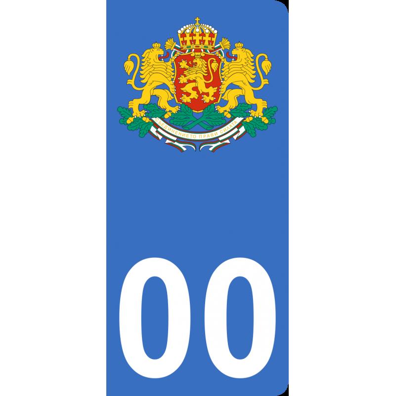 Autocollants armoiries de Bulgarie pour plaque immatriculation numéro au choix