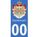 Autocollants blason du Danemark pour plaque immatriculation numéro au choix