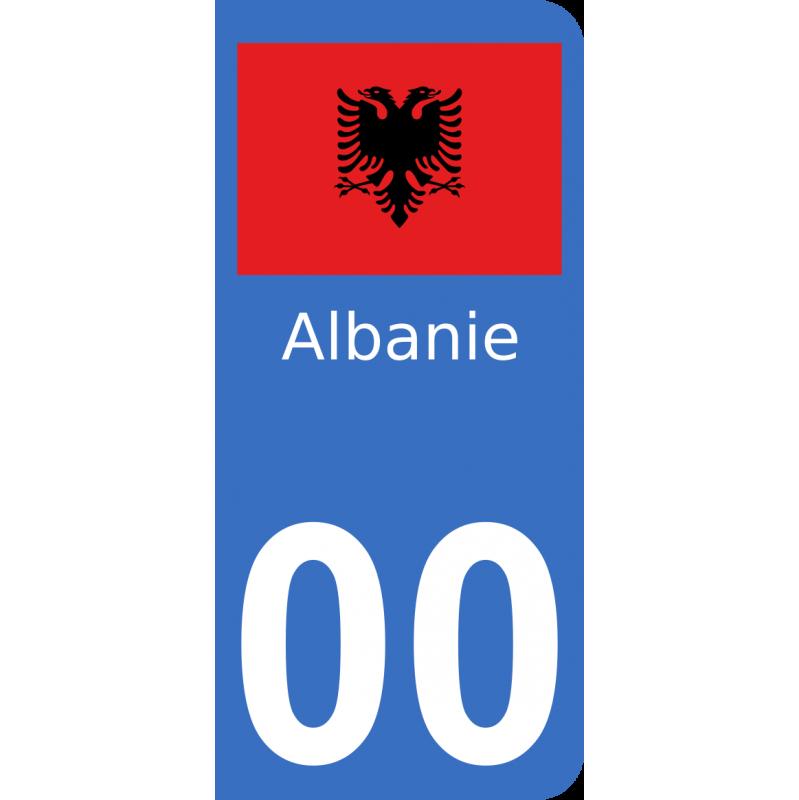 Autocollants drapeau d'Albanie pour plaque immatriculation numéro au choix