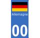 Autocollants drapeau d'Allemagne pour plaque immatriculation numéro au choix