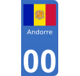 Autocollants drapeau d'Andorre pour plaque immatriculation numéro au choix