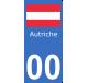 Autocollants drapeau Autriche pour plaque immatriculation numéro au choix