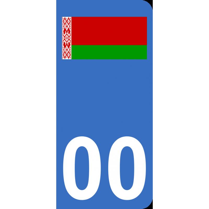 Autocollants drapeau de Biélorussie pour plaque immatriculation numéro au choix