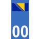 Autocollants drapeau de Bosnie-Herzégovine pour plaque immatriculation numéro au choix