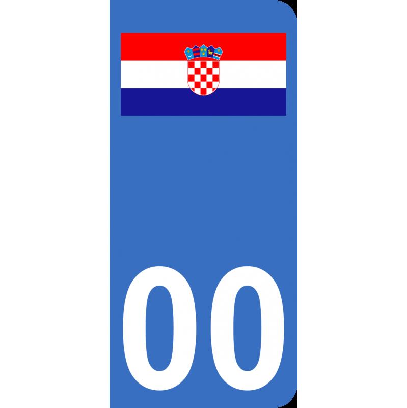 Autocollants drapeau de Croatie pour plaque immatriculation numéro au choix