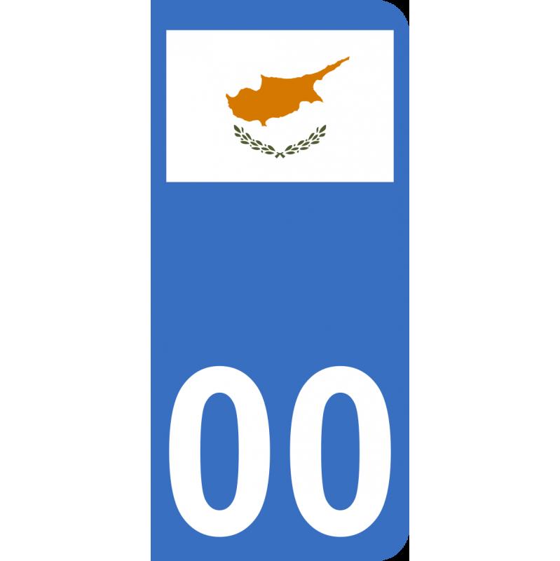 Autocollants drapeau de Chypre pour plaque immatriculation numéro au choix
