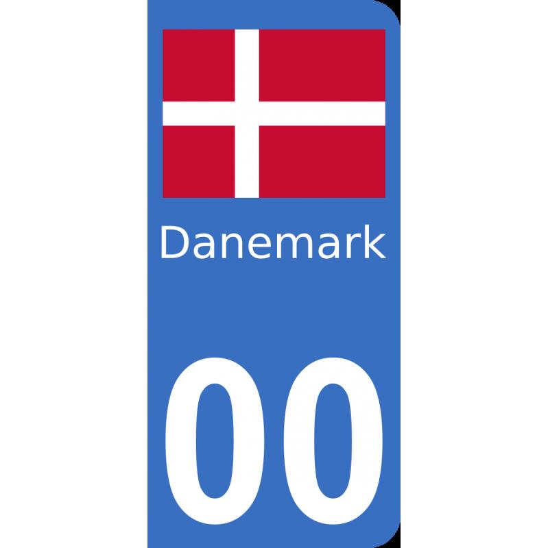 Autocollants drapeau du Danemark pour plaque immatriculation numéro au choix