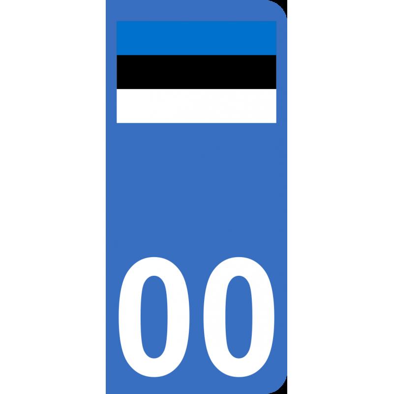 Autocollants drapeau d'Estonie pour plaque immatriculation numéro au choix