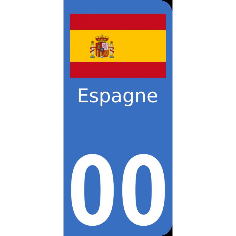 Autocollants drapeau d'Espagne pour plaque immatriculation numéro au choix