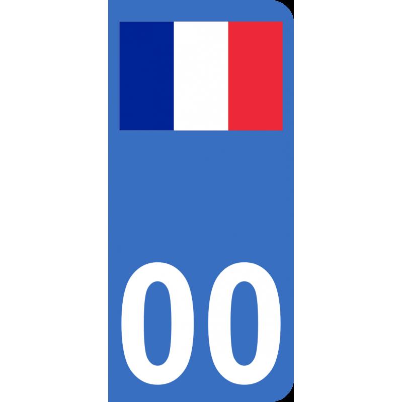 Autocollants drapeau de France pour plaque immatriculation numéro au choix
