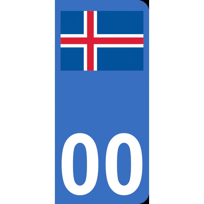 Autocollants drapeau d'Islande pour plaque immatriculation numéro au choix