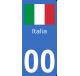 Autocollants drapeau d'Italie pour plaque immatriculation numéro au choix