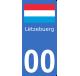 Autocollants drapeau du Luxembourg pour plaque immatriculation numéro au choix