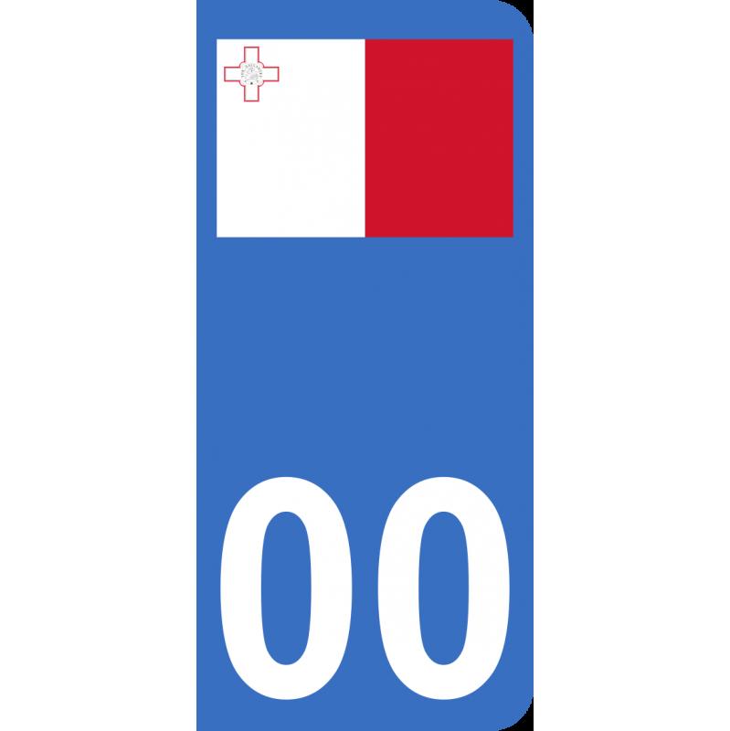 Autocollants drapeau de Malte pour plaque immatriculation numéro au choix