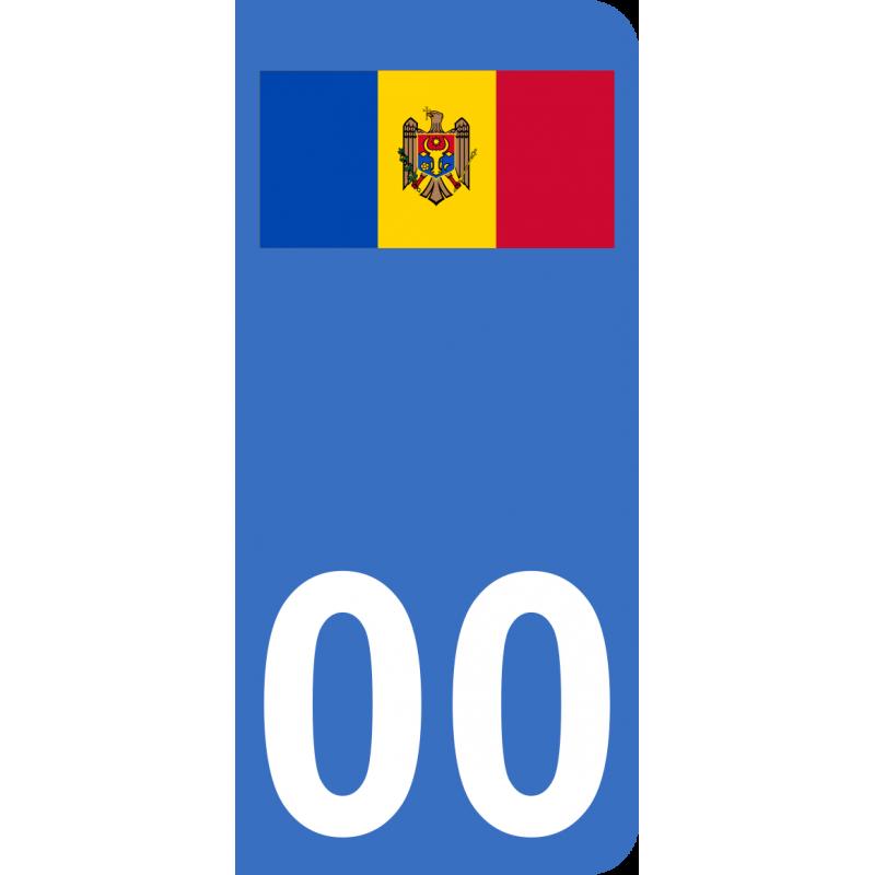 Autocollants drapeau de Moldavie pour plaque immatriculation numéro au choix
