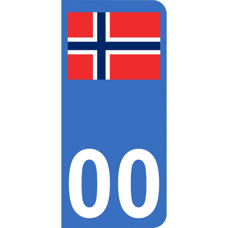 Autocollants drapeau de Norvège pour plaque immatriculation numéro au choix