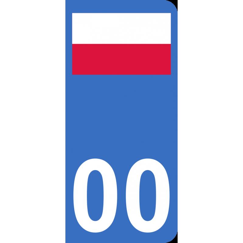 Autocollants drapeau de Pologne pour plaque immatriculation numéro au choix