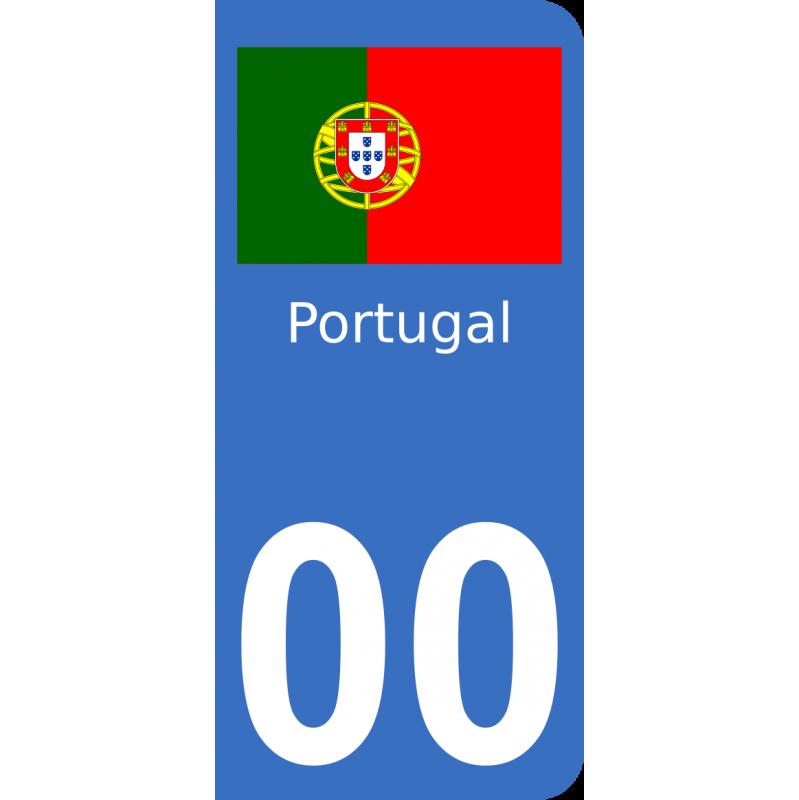Autocollants drapeau du Portugal pour plaque immatriculation numéro au choix