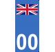 Autocollants drapeau du Royaume-Uni pour plaque immatriculation numéro au choix