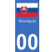 Autocollants drapeau de Slovaquie pour plaque immatriculation numéro au choix