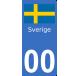 Autocollants drapeau de Suède pour plaque immatriculation numéro au choix