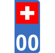 Autocollants drapeau de Suisse pour plaque immatriculation numéro au choix