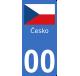 Autocollants drapeau de Tchéquie pour plaque immatriculation numéro au choix