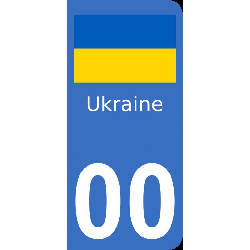 Autocollants drapeau d'Ukraine pour plaque immatriculation numéro au choix