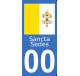 Autocollants drapeau du Vatican pour plaque immatriculation numéro au choix