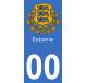 Autocollants armoiries d'Estonie pour plaque immatriculation numéro au choix
