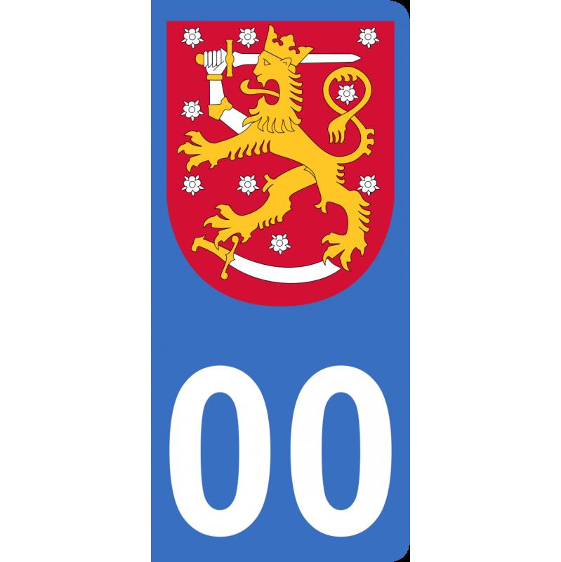 Autocollants blason de Finlande pour plaque immatriculation numéro au choix