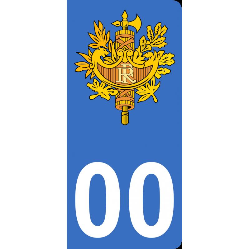 Autocollants emblème de France pour plaque immatriculation numéro au choix