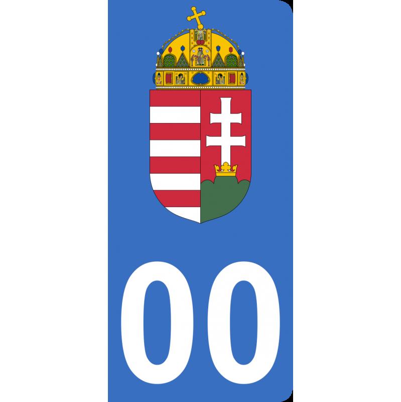 Autocollants armoiries de Hongrie pour plaque immatriculation numéro au choix