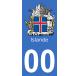 Autocollants armoiries d'Islande pour plaque immatriculation numéro au choix