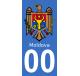 Autocollants armoiries de Moldavie pour plaque immatriculation numéro au choix