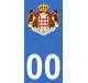 Autocollants armoiries de Monaco pour plaque immatriculation numéro au choix