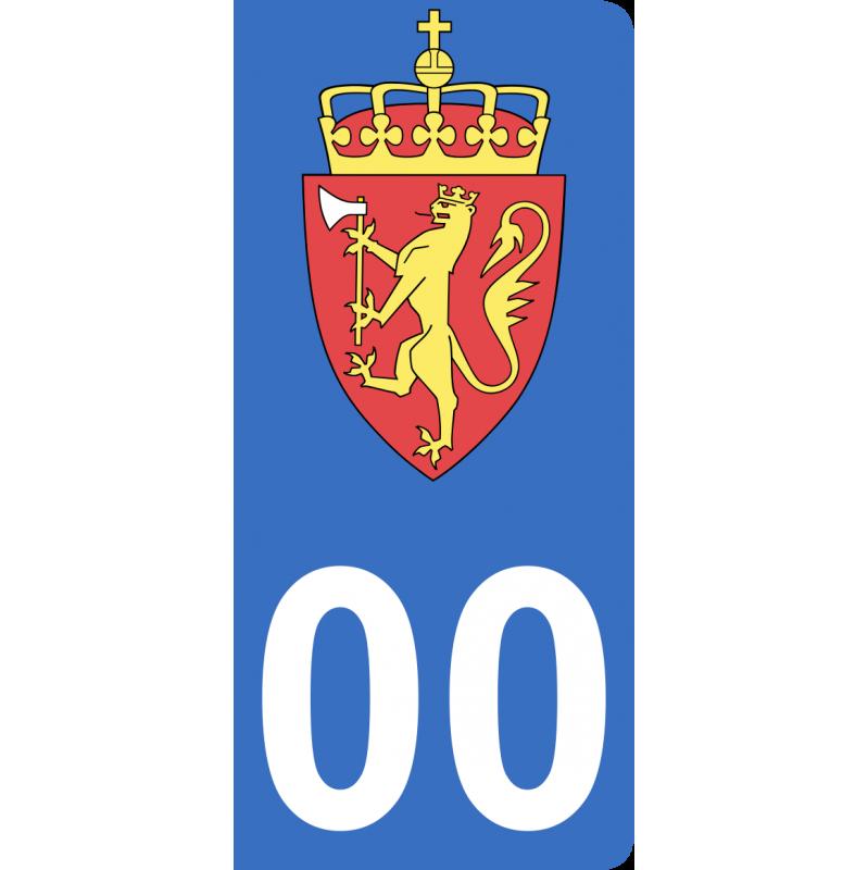 Autocollants armoiries de Norvège pour plaque immatriculation numéro au choix