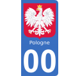 Autocollants blason de Pologne pour plaque immatriculation numéro au choix