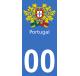 Autocollants armoiries du Portugal pour plaque immatriculation numéro au choix