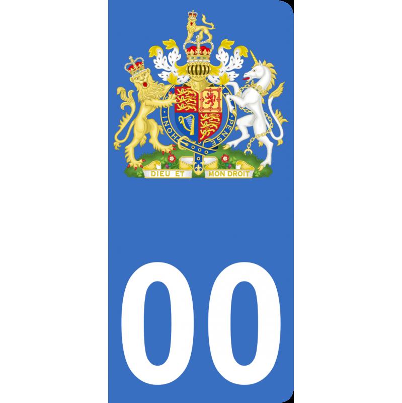 Autocollants armoiries du Royaume-Uni pour plaque immatriculation numéro au choix