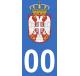 Autocollants armoiries de Serbie pour plaque immatriculation numéro au choix