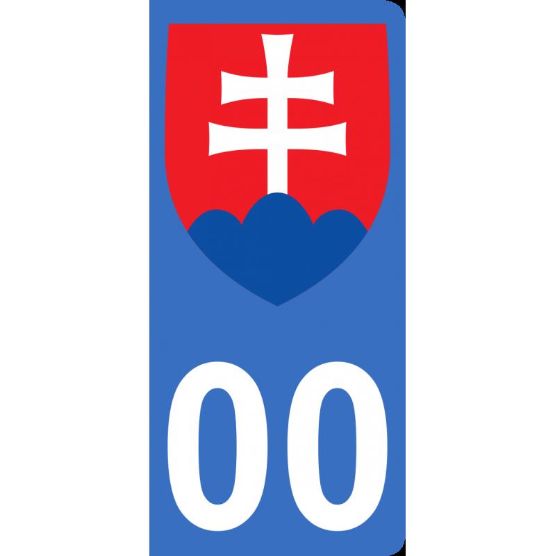 Autocollants blason de Slovaquie pour plaque immatriculation numéro au choix
